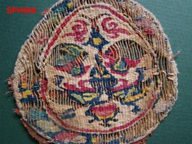 Ancient Coins - 13COP) Very colorful Coptic textile fragment from a wall hanging or curtain