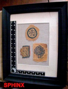 Ancient Coins - 17COP) Framed sampler of 3 different Coptic textile fragments : exquisite museum quality.