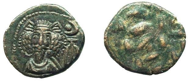 Ancient Coins - 550CB) ELAM, KAMNASKIRID OR ARSACID  DYNASTY, CIRCA 2ND CENT AD, SMALL THICK MODULE DRACHM AROUND 3GRMS, 15-16 MM THICKNESS; BLACK- GREEN PATINA AND GOOD DETAILS. MITCHINER ACW 718