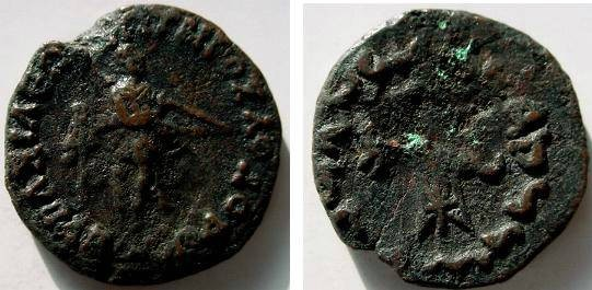 Ancient Coins - 620GREEK) Bactria; Apollodotus II, 2nd to 1st cents. B.C.  AE 15.8g 29mm Apollo right with bow, Monogram in left front. Rv., tripod between two letters; Kharosthi inscript. FINE