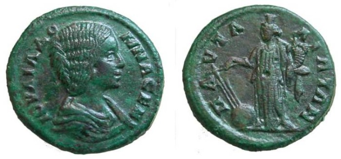 Ancient Coins - 569FL) Pautalia , Julia Domna AE24 mm, 7.72 grms, OBV. Draped bust right, REV. Tyche standing left with rudder and cornucopiae, Moushmov 4229, nice VF with attractive green patina.