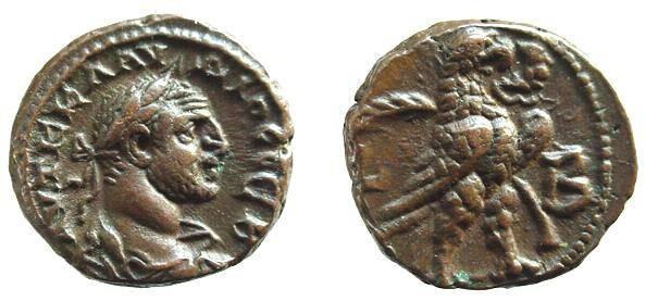 Ancient Coins - 98CK) ROMAN EGYPT, CLAUDIUS II, 268-270 AD, AE POTIN TETRADRACHM, REV. EAGLE RIGHT, WREATH IN BEAK, PALM IN BACKGROUND YEAR LB = YEAR 2 , CURTIS 1686, BMC 2335 IN FINE+ COND.