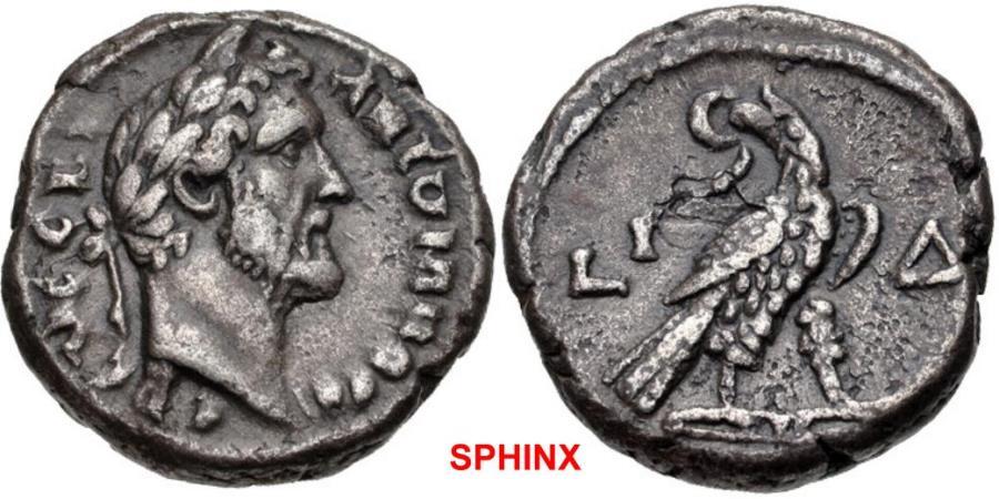 Ancient Coins - 354KG7X) EGYPT, Alexandria. Antoninus Pius. AD 138-161. BI Tetradrachm (22mm, 10.37 g, 12h). Dated RY 14 (AD 150/151). Laureate bust right, slight drapery / Eagle standing left, he