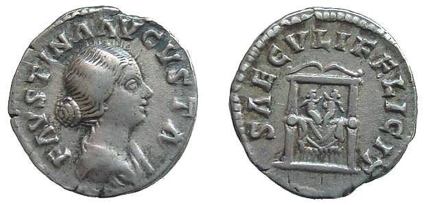 Ancient Coins - 360FG) FAUSTINA JUNIOR, WIFE OF MARCUS AURELIUS, ROME,161-162 AD, AR DENARIUS,  17 MM, 3.32 GRMS, RIC 711, RSC 190, COMMEMORATING THE BIRTH OF COMMODUS AND HIS TWIN BROTHER ANTONIN