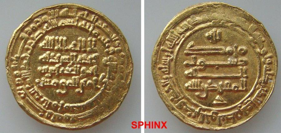 World Coins - 446RLH19) ABBASID, THIRD PERIOD, AL-MUQTADIR, 295-320 AH / 908-932 AD, GOLD DINAR, 4.05 GRMS, 22 MM, STRUCK AT AL-MUHAMADEYYA (present day Teheran), IN 312 AH, LAVOIX -------- 1133