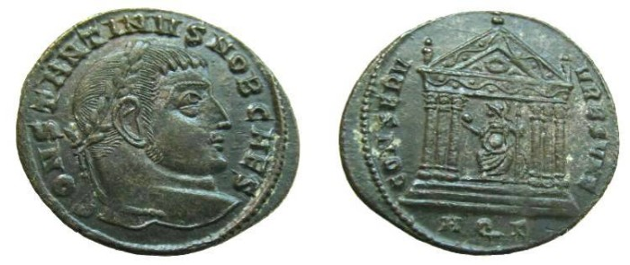Ancient Coins - 1089RE) Constantine I as Caesar, Late Summer 307 AD, AE Follis, 26.5 mm, 5.98 grms, Obv. CONSTANTINVS NOB CAES, Laureate head right,  Rev. CONSERV-VRB SVAE, Roma seated VF cond.