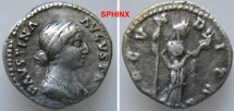 Ancient Coins - 65HM0) Faustina II, AR Denarius, 19 mm, 3.01 grms, Before 175/176, Rome, Obv. FAVSTINA-AVGVSTA, Draped bust right, hair waved and coiled at lower back of head in small bun, VF