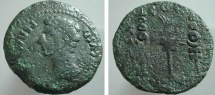 Ancient Coins - 581RR) Spain, Patricia. Augustus. 27 B.C.-A.D. 14. AE 32 mm (16.76 g). Bare head left / Aquila between two signa. RPC 128. LARGE MODULE FINE.