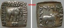 Ancient Coins - 943CCF7Z) KINGS of BAKTRIA. Apollodotos I. Circa 180/174-165/160 BC. AR Square Drachm (15 x 15 mm, 2.41 g, 12h). Bilingual series. BASILEWS APOLLODOTOU SWTHROS, Indian elephant, EF