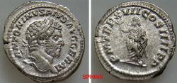 Ancient Coins - 271FR0Z) CARACALLA. 198-217 AD. AR Denarius (19 mm, 3.81 grms). Struck 214 AD. ANTONINVS PIVS AVG GERM, laureate head right / P M TR P XVII COS IIII P P, Genius of the Senate, toga