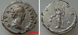Ancient Coins - 76GC9X) Diva Faustina Senior. Died AD 140/1. AR Denarius (18mm, 3.34 g). Rome mint. Struck under Antoninus Pius, circa AD 146-161. Draped bust right, wearing pearls bound on top of