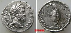 Ancient Coins - 474GF4) Septimius Severus. AD 193-211. AR Denarius (19 mm, 3.28 g, 6h). Rome mint. Struck AD 201-202. Laureate head right / Septimius, veiled, standing left, holding branch and rol