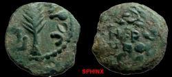 Ancient Coins - 813GM) Roman Procurators. Porcius Festus, AD 59-62 (under Nero). AE Prutah. Wt: 2.39 grams. Dia. 15.5 mm.Obv: Legend in wreath, Rev.: Palm-branch surrounded by (KAI)C APOC. retrogr