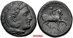 Ancient Coins - 102KG18) KINGS of MACEDON. Kassander. 305-298 BC. Æ Unit (18.5mm, 6.66 g, 7h). Pella mint(?). Head of Herakles right, wearing lion skin / Rider on horseback right, raising right ha