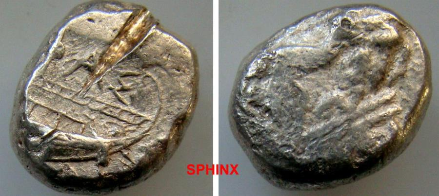 Ancient Coins - 39CHH19) LYCIA, Phaselis. Circa 500-440 BC. AR Stater (19 X 15 mm, 11.06 g). Prow of galley left in the form of a forepart of a boar / Stern of galley right within incuse square PA