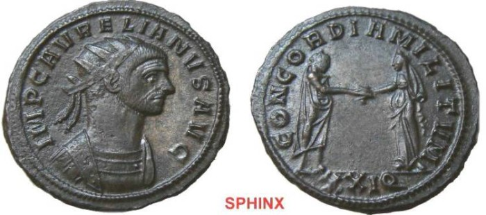 Ancient Coins - 232EF0) Aurelian 270-275 AD, AE Antoninianus, 23 mm, 4.29 grms,Obv.Radiate cuirassed bust right, IMP C AVRELIANVS AVG / Rev. Emperor standing right, clasping hands with Concordia;