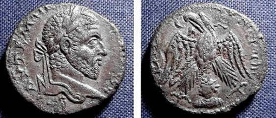 Ancient Coins - ROMAN PROVINCIAL, MACRINUS, 217-218 AD, AR TETRADRACHM, STRUCK AT EMESA (PRESENT DAY HUMS IN SYRIA)