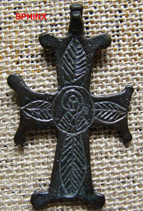 Ancient Coins - 65CROSS) BYZANTINE BRONZE CROSS, CIRCA 7-10TH CENT.