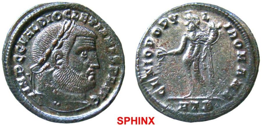 Ancient Coins - 563FF4) DIOCLETIAN. 284-305 AD. Æ Follis (28 mm, 10.12 gm, 6h). Heraclea mint. Struck 296-297 AD. IMP C G VAL   DIOCLETIANVS P F AVG, laureate head right / GENIO POPV-L-I ROMANI