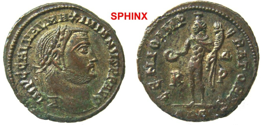 Ancient Coins - 566FF4) Maximianus. As Augustus (2nd reign), AD 308-310. Æ Follis (24 mm, 7.68 g). Alexandria mint,  Struck 308-310. Laureate head right / Genius standing left, VF