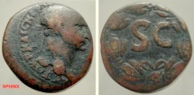 Ancient Coins - 704FG8) SYRIA, Seleucis and Pieria. Antioch. AE 25 mm, 15.48 grms, Uncertain Trajan or Hadrian, rev. SC in wreath. Fine cond. Chocolate brown patina.