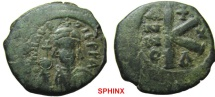 301RR1) Maurice Tiberius. 582-602. Æ Half Follis (24mm, 5.47 g, 7h). Constantinople mint, 4th Officina. Dated RY 10 (591/2). Diademed, helmeted, and cuirassed facing bust, holding