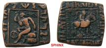 48EC17) INDO-SCYTHIAN KINGS of BAKTRIA. Spalahores, with Spalagadames. Circa 75-55/50 BC. Æ Tri-chalkon (20 x 20 mm, 8.37 gm). Taxila mint? , king on horseback right / Herakles  VF