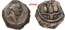 Ancient Coins - 545HM3) EGYPT, Alexandria. Trajan. AD 98-117. Æ Dichalkon (13.5 mm, 1.69 g, 12h). Dated RY 16 (AD 112/3). Laureate head right / Hem-hem crown; date below. milne 698, BMC ---- VF+,