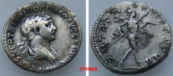 Ancient Coins - 239GG18) Trajan. AD 98-117. AR Denarius (18 mm, 3.25 g). Rome mint. Struck AD 114-117. Laureate and draped bust right / Mars advancing right, holding spear and trophy. RIC II 337;