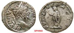 Ancient Coins - 288FR0Z) Septimius Severus. 193-211 AD. AR Denarius (19 mm, 3.45 gm). Struck 202-210 AD. SEVERVS PIVS AVG, laureate head right / FVNDAT-OR PACIS, Septimius standing left, holding b