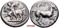 Ancient Coins - 139CGC18) THESSALY, Larissa. Circa 420-400 BC. AR Drachm (17mm, 6.01 g, 1h). The hero Thessalos, with petasos and chlamys hanging around neck, restraining bull left by band held ar