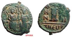 Ancient Coins - 207CM) BYZANTINE EMPIRE, JUSTIN II, 565-578 AD, 18 mm, 3.44 grms, AE Decanummium. Obv. Justin on left Sophia on right, seated facing on double throne, both nimbate, Rev. large I