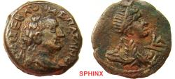 Ancient Coins - 604GC17) EGYPT, Alexandria. Vespasian. AD 69-79. Æ Diobol (23 mm, 7.79 g). Dated RY 1 (AD 69). Laureate head of Vespasian right / Crowned and drape bust of Isis right; L A (date) b