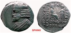 Ancient Coins - 117GPB) PARTHIA, VARDANES I, 40-45 AD, AR TETRADRACHM, 14.46 GRAMS, REV, KING ENTHRONED RECEIVING PALM FROM TYCHE, FULLY LEGIBLE YEAR ABOVE PALM, AND MONTH IN EXERGUE, SELLWOOD, 64