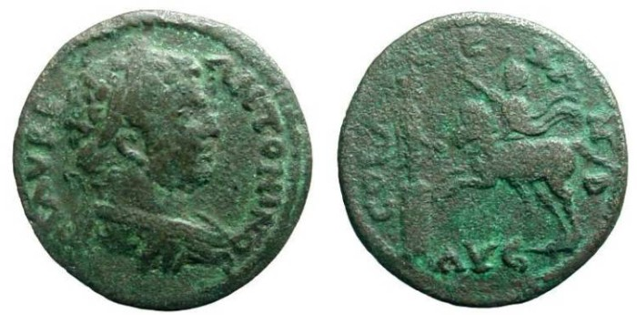 Ancient Coins - 24CK) TROAS, ALEXANDRIA, TROAS, CARACALLA, 198-217 AD, AE 24MM, 7.08 GRMS, IN FINE CONDITION.