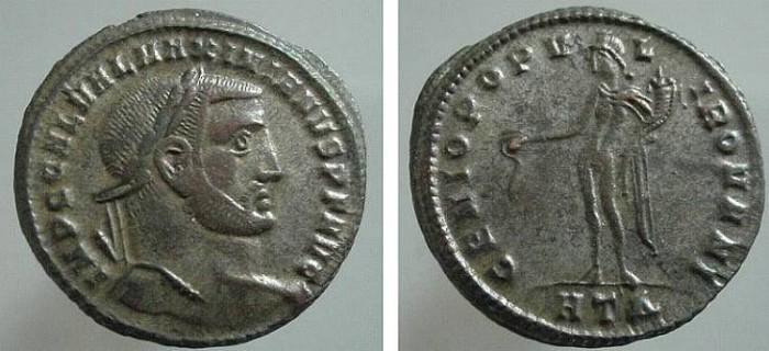 Ancient Coins - 551GG) Galerius, 293-311 AD, AE follis.  28.5 mm, 10.82 grms, Minted 296-7 AD. OBV. Laureate Galerius facing right, GAL VAL MAXIMIANUS NOB CAES. REV. Genius standing left, holding