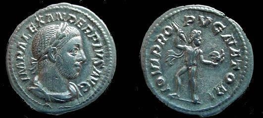 Ancient Coins - 613ROM) SEVERUS ALEXANDER. 222-235 AD. AR Denarius. Struck 231-235 AD. Jupiter walking left, head right, holding thunderbolt and eagle. RIC IV 238; VF+ COND.
