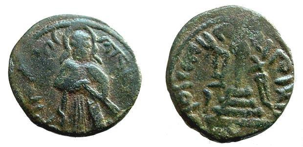 Ancient Coins - 449GF) ARAB-BYZANTINE, AE FALS, STANDING CALIPH TYPE, CROSS ON STEPS REVERSE, MINTED AT HIMS IN SYRIA,SICA I ; 696-699, IN aVF, WITH OLIVE GREEN TONING.