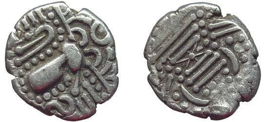 """Ancient Coins - 557EE) INDO-SASANIAN """" GADHAIYA PAISA """" COINAGE OF THE CHAULUKYA-PARAMARA NEXUS; CIRCA 950-1050 AD, CHAULUKYA SERIES OF SAURASHTRA AND GUJARAT, AR DRACHM, 4.23 GRMS, 16.5 MM, VF"""