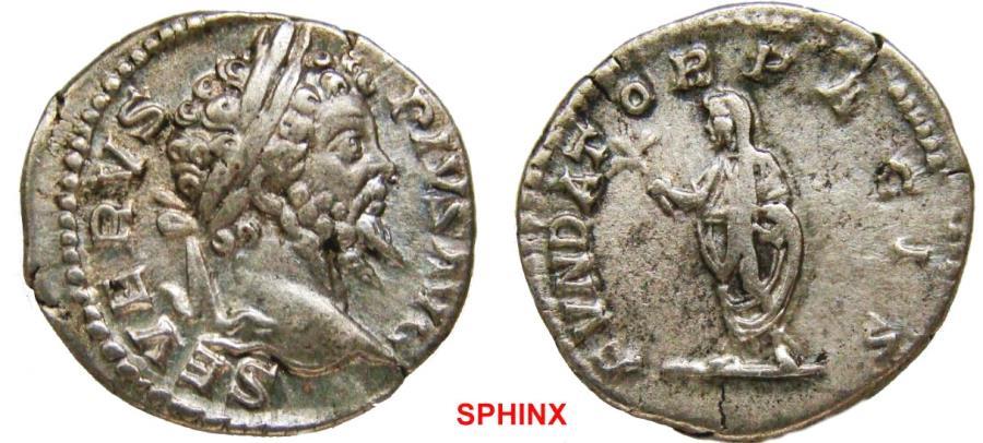 Ancient Coins - 288FR0Z) Septimius Severus. 193-211 AD. AR Denarius (19 mm, 3.45 gm). Struck 202-210 AD. SEVERVS PIVS AVG, laureate head right / FVNDAT-OR PACIS, Septimius standing left, holding b