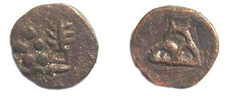 Ancient Coins - 2137G) TAXILA, 190-168 BC, AE ¼ KARSHAPANAS, 17 MM, 3.3 GRAMS, MITCHINER MIG 586, IN FINE + COND.