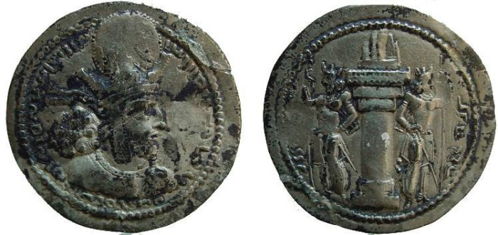 Ancient Coins - 141CM) SASANIAN, SHAHPUR I, 240-271 AD, AR DRACHM, 4.12 GRAMS, HEADDRESS WITH EAR FLAPS, TYPE OF MITCHINER MACW-811/19; HIGH RELIEF STRIKE, BLACK DEPOSITS, VF.