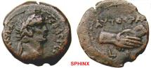 Ancient Coins - 576HM3) EGYPT, Alexandria. Claudius. 41-54 AD. Æ Obol (20 mm, 4.88 g). Dated RY 10 (49/50 AD). Laureate head right / Clasped hands; Milne 115; BMC 106, VF, brown patina. Scarce.