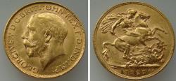 World Coins - 191400-M) BRITAIN: George V, AV 1 Sovereign, 1927SA, Mint Initials: SA (South Africa)