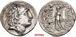 Ancient Coins - 183CLC19) KINGS of CAPPADOCIA. Ariarathes VII Philometor. Circa 107/6-101/0 BC. AR Tetradrachm (29mm, 16.44 g, 12h). In the name and types of Antiochos VII of Syria. Mint A ; VF