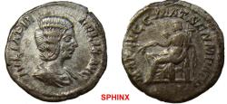 Ancient Coins - 963GL17) Julia Domna. Augusta, AD 193-217. AR Denarius (19 mm, 2.84 grms). Rome mint. Struck under Caracalla, AD 211. Draped bust right / Julia Domna seated left, holding olive bra