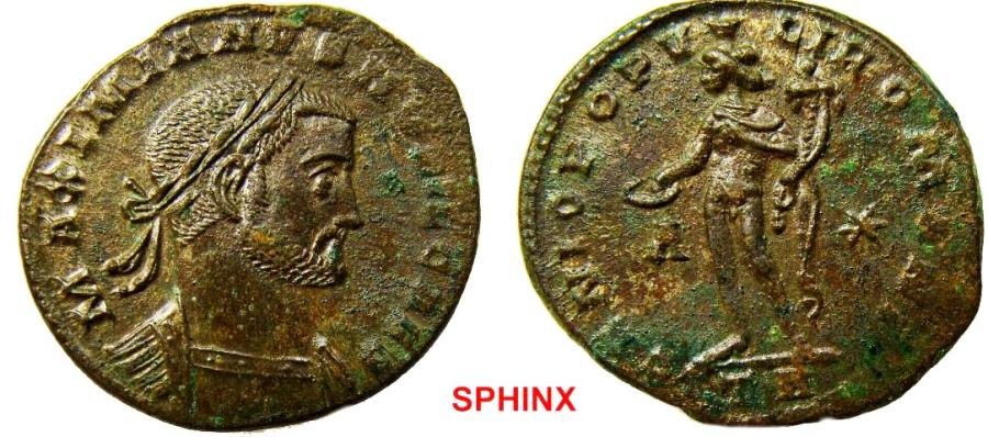 Ancient Coins - 289RK17) Galerius. As Caesar, AD 293-305. AE Follis (28 mm, 8.91 g). Treveri (Trier) mint, 1st officina. Struck circa AD 298-299. Laureate head right / Genius standing front, head