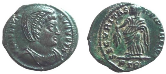 Ancient Coins - 801GM) Helena,First Wife of Constantius and Mother of Constantine I, Bronze Folles, ae 19.5 mm, 3.72 grms, Treveri mint (Trier, Germany), Officina 1, A.D. 326, Obv. plain-diademed