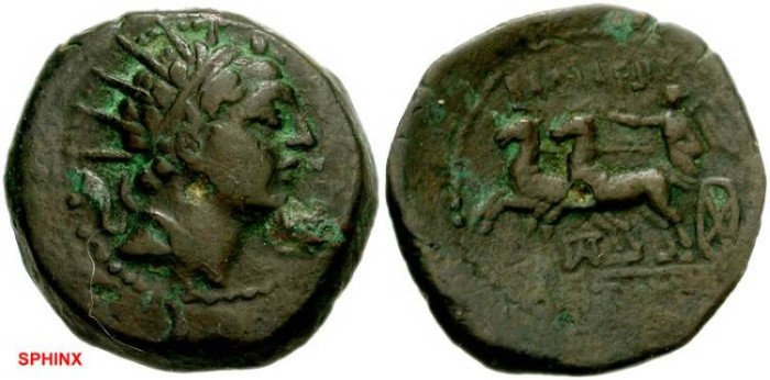 Ancient Coins - 81KE) SELEUKID KINGS of SYRIA. Antiochos IV Epiphanes. 175-164 BC. Æ 20mm (6.47 g). Ake-Ptolemais mint. Struck before 168 BC. Diademed and radiate head right / Nike in biga gallopi