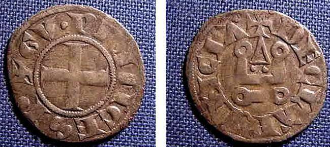 Ancient Coins - CRUSADERS OF ACHAEA, WILLIAM OF VILLEHARDOUIN 1245-78 AD DENIER TOURNOIS